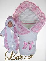 """Зимний набор на выписку для девочки """"Мария"""", белый с розовым, фото 1"""