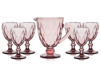 """Набор """"Изумруд"""" розовый (6 бокалов 300 мл + кувшин 1 л), 34215-8-3"""