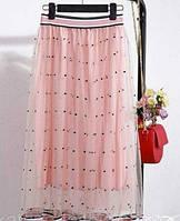 Юбка шифоновая на подкладке, юбка на резиночке, размер единый 42-46., фото 1