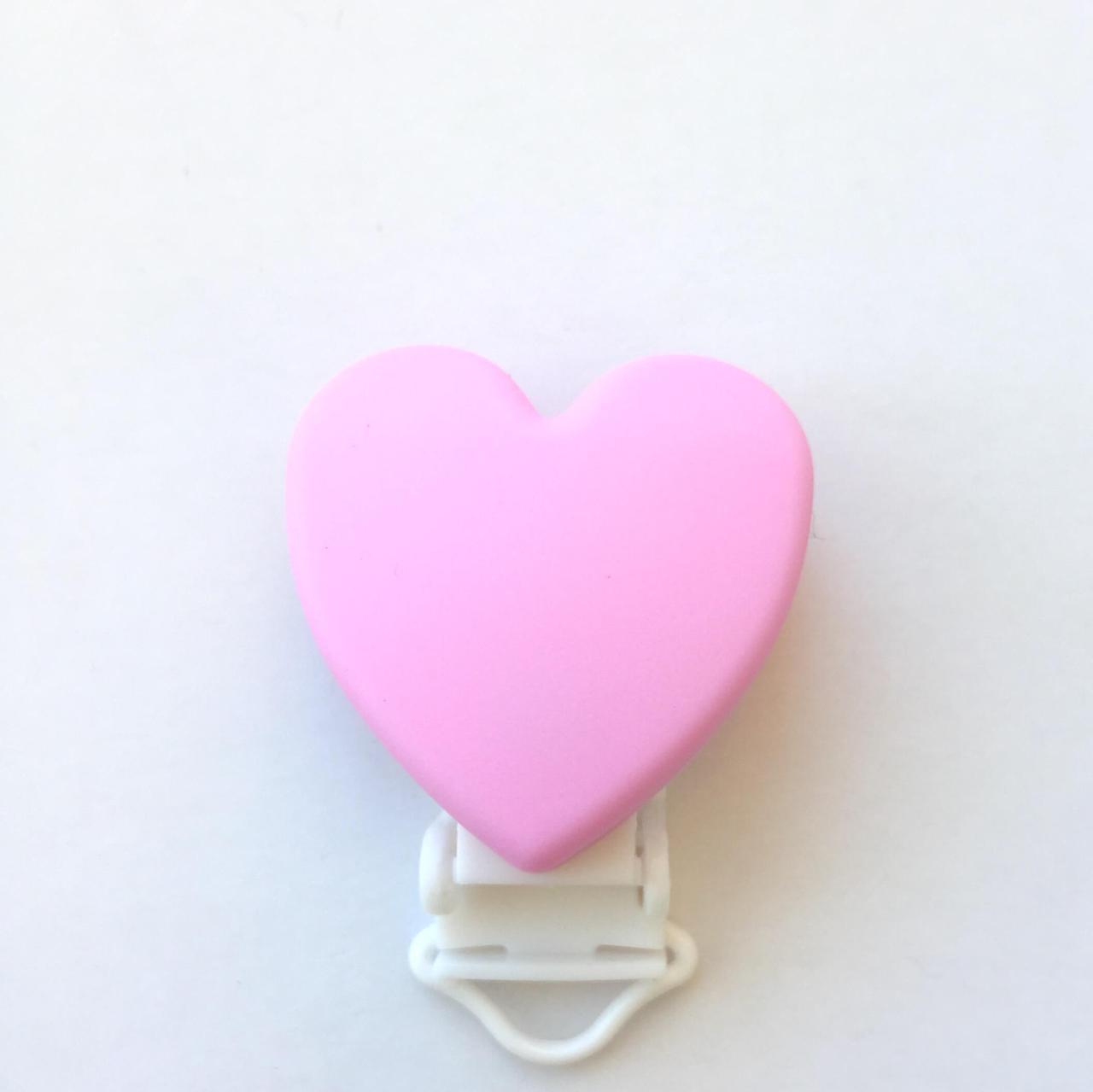 Клипса Сердце (розовый) силиконовая для пустышки