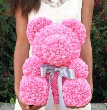 """Мишка из роз 3D, 40см """"Bear Flowers""""  (нежно-розовый) + подароч. упаковка, фото 2"""