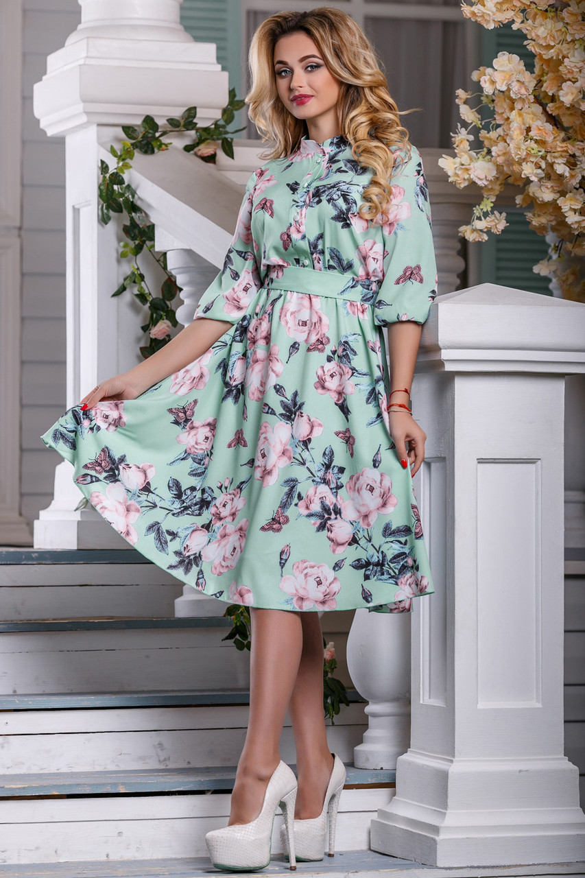 20366154e060ecc ◼️Элегантное платье цвета мяты с цветочным принтом / Размер XXL / P21А6В1 -  2616 -
