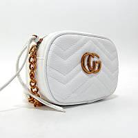 Маленькая женская овальная сумка 2063-5 белая кросс-боди через плечо, фото 1