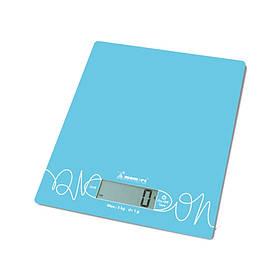Весы кухонные электронные на стеклянной платформе Голубые Momert