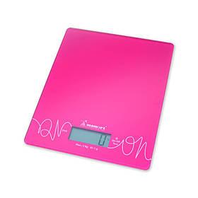 Весы кухонные электронные на стеклянной платформе Малиновые Momert
