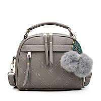 Женская сумочка полукруглая серая с молниями, фото 1