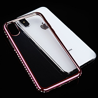 Силиконовый прозрачный чехол с розовым бампером и камнями Сваровски для Iphone X/Xs