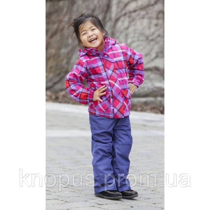 Демисезонная куртка на флисе в клетку и синие штаны для девочки,  NANO, размеры 80, 86, 92, 110-116.