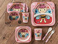 Бамбуковый набор детской посуды (ЭКО) «Пчелка».., фото 1