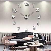 Большие оригинальные часы на стену,  интерьерные 3D  Серебристые 365442