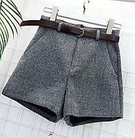 Модные женские осенне-зимние шорты плотные с завышенной талией