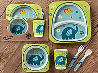 Бамбуковый набор детской посуды (ЭКО) «Слоненок»., фото 1