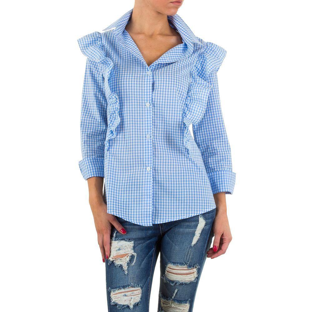 Женская рубашка в клетку с воланами Shk Mode (Европа) Голубой