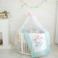 Детское постельное белье с балдахином Akvarel единорог мятно-розовый для девочки