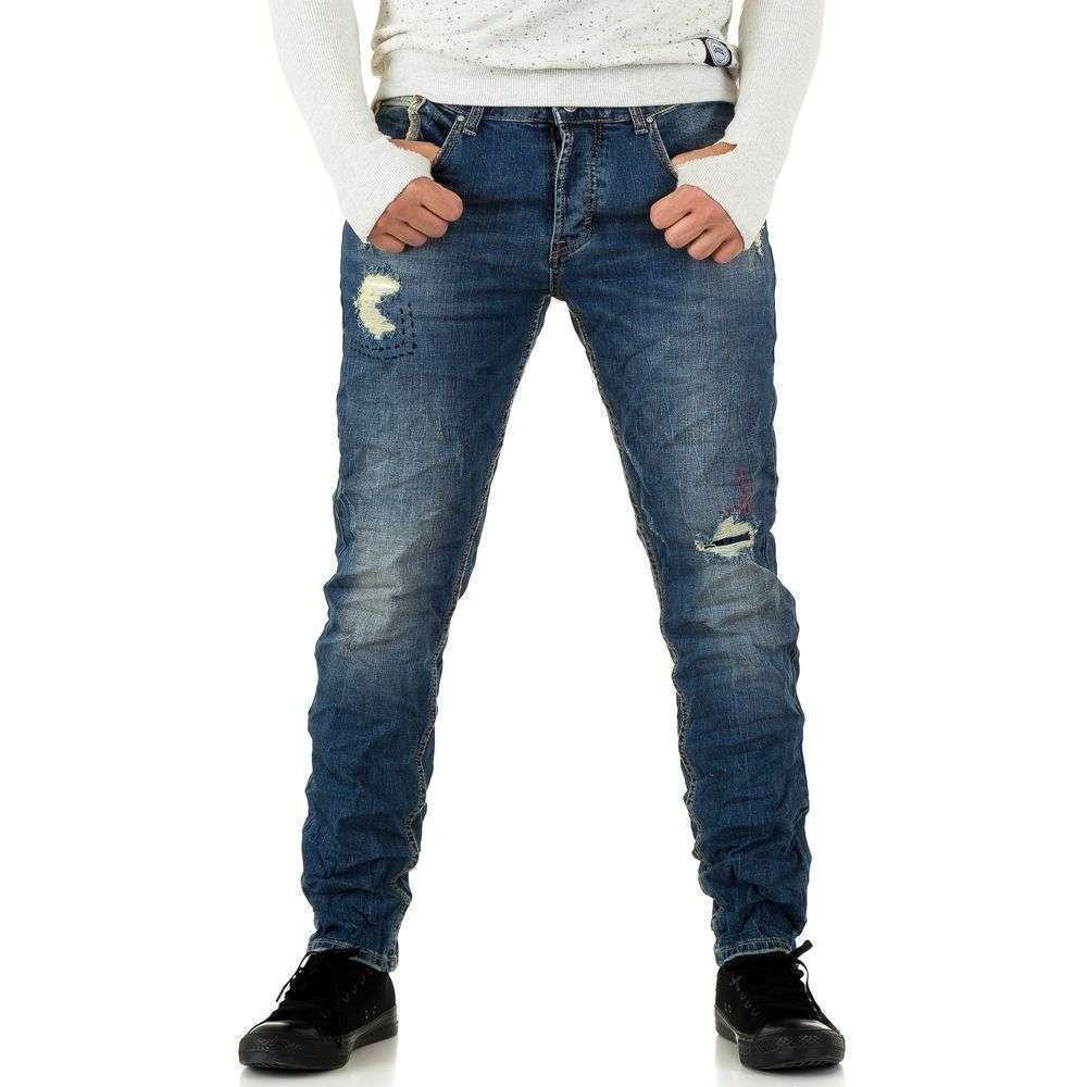 Джинсы мужские с рваным эффектом Y.Two Jeans (Италия), Синий