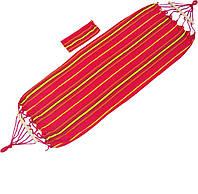 ✅Гамак для отдыха тканевый с деревянными планками лежак 200*80 с рюкзачком планка 40 см Красн/жолт.