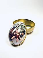 Яйцо пасхальное металлическая коробочка для подарка,конфет на Пасху (желтый)