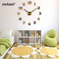 Большие настенные бескаркасные часы на стену,  интерьерные 3D  Золотистые 367425
