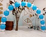 Набор для гирлянды из воздушных шаров (бело-голубая) насос в комплекте, фото 8