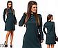 Трикотажное женское платье с воротником (темно-синий) 827336, фото 2