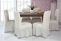 """Чехлы на стулья """"Venera"""" набор 6 штук (с оборкой)"""