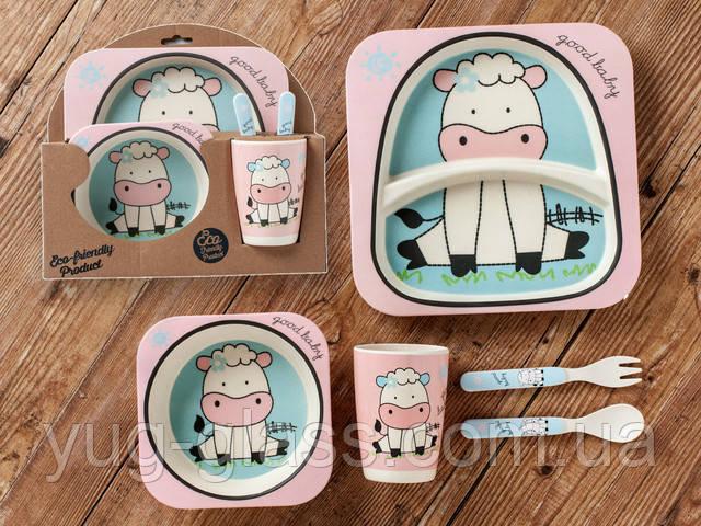 Бамбуковый набор детской посуды (ЭКО) «Коровка».