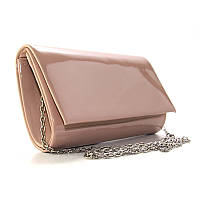 Вечерняя пудровая сумка-клатч Rose Heart rh-8728-25 pud лаковая на цепочке, фото 1