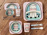 Бамбуковый набор детской посуды (ЭКО) «Коровка»., фото 1
