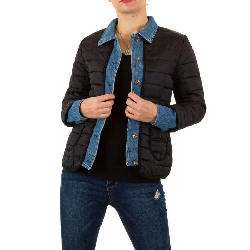 Стеганая женская куртка с джинсовыми вставками (Европа), Черный