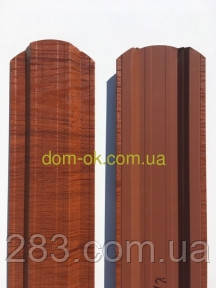 Штакетник металлический 113 мм, 108 мм Красное дерево 3D Китай