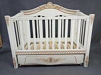 Детская кроватка «VIVA Victoria» ваниль, белая +золотое патинирование, фото 1