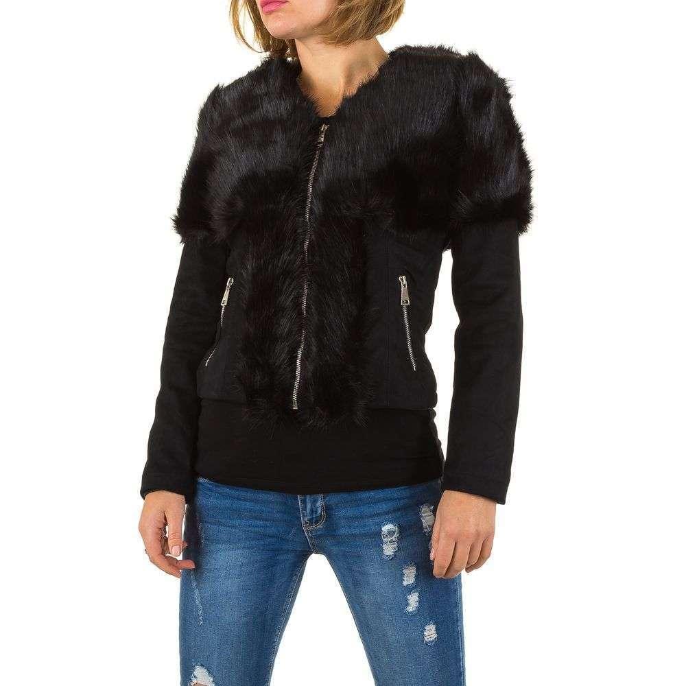 Короткая куртка женская с мехом утепленная под нубук (Европа), Черный