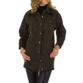 Джинсовая куртка рваная женская Naumy Jeans (Италия), Хаки