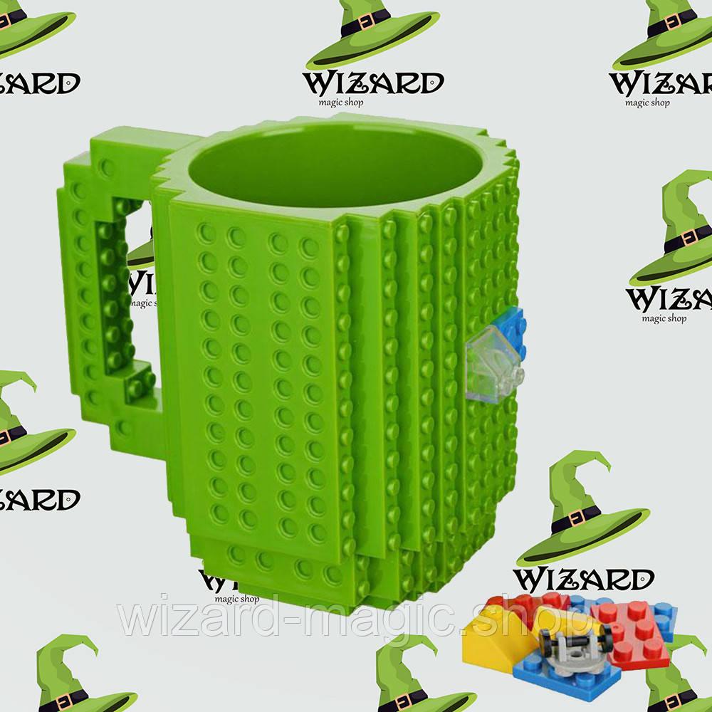 Кружка Лего конструктор зеленая