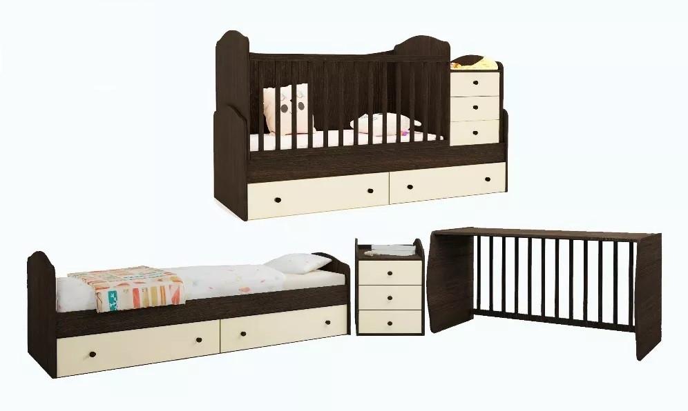 Кровать - трансформер 3 в 1! Люлька+столик+тумбочка+кроватка-маятник