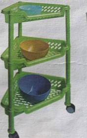 Этажерка пластмассовая, угловая трехъярусная Консенсус