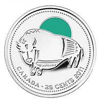 Канада 25 центов 2011, Бык ЦВ.ЭМАЛЬ