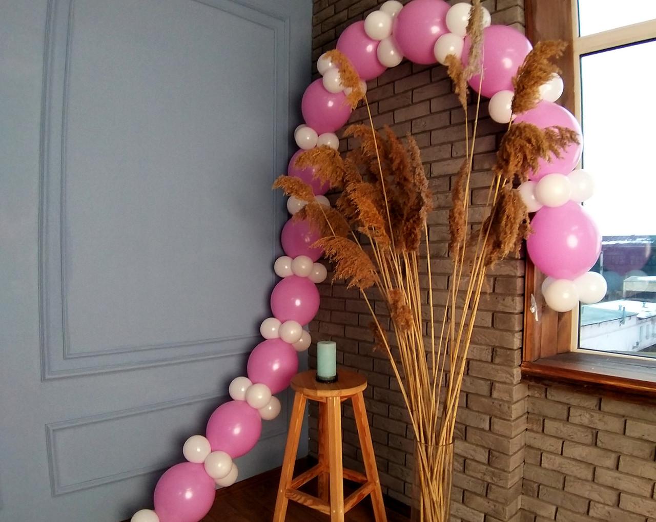 Гирлянда с воздушных шариков (бело-розовая) + насос