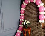 Гирлянда с воздушных шариков (бело-розовая) + насос, фото 4