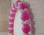 Гирлянда с воздушных шариков (бело-розовая) + насос, фото 7