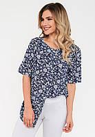 Модная летняя шифоновая женская блузка с разрезами по бокам Modniy Oazis синий 90304, фото 1