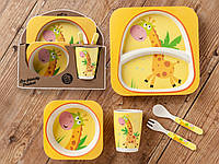 Бамбуковый набор детской посуды (ЭКО) «Жираф»., фото 1