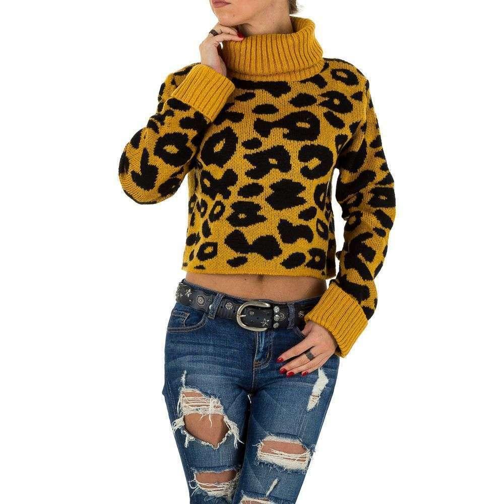 Женский свитер укороченный Shk Paris (Франция), Горчичный/Леопардовый