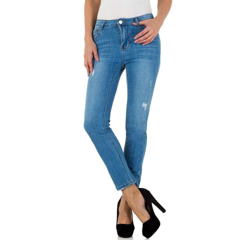 Женские потертые джинсы укороченные Laulia (Германия), Синий