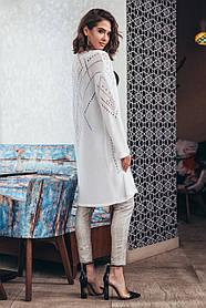Кардиган белый длинный на весну лето с перфорацией вискоза коттон с карманами размеры 42-52