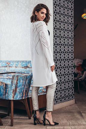 Кардиган белый длинный на весну лето с перфорацией вискоза коттон с карманами размеры 42-52, фото 2
