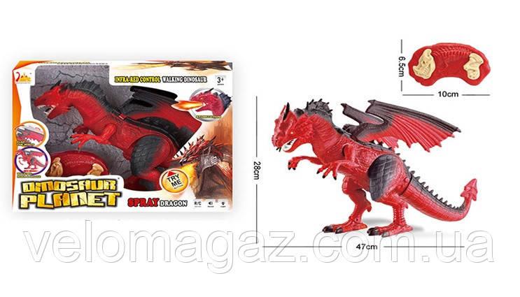 Дракон RS6159A, 47 см, пульт управления, пускает пар, ходит, двигает головой. Красный цвет.