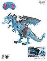 Дракон RS6158, 47 см, пульт управления, пускает пар, ходит, двигает головой. Синий цвет., фото 1