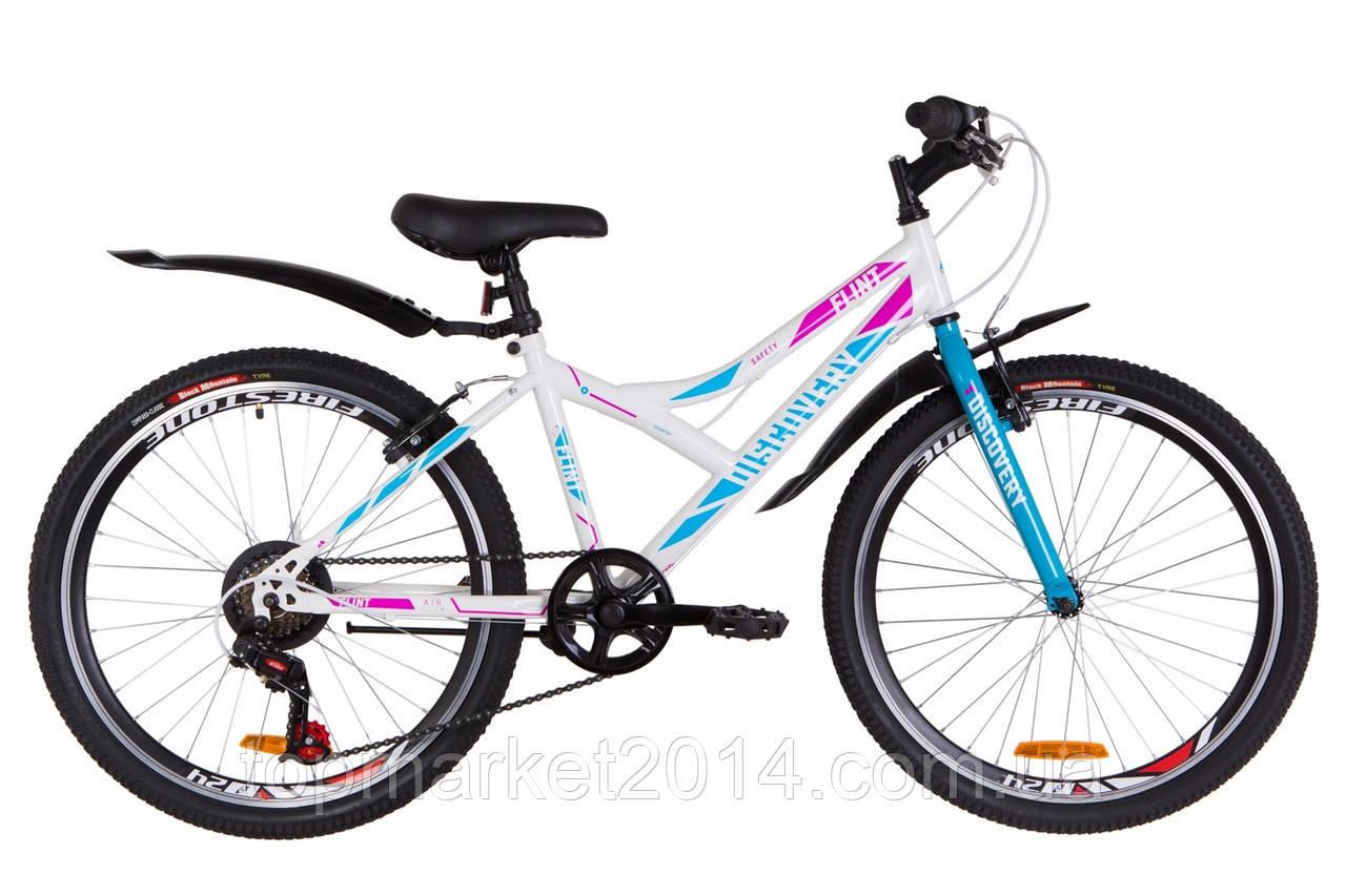 """Гірничо-підлітковий велосипед DISCOVERY FLINT VBR 24""""(біло-блакитний з троянд)"""