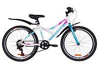 """Гірничо-підлітковий велосипед DISCOVERY FLINT VBR 24""""(біло-блакитний з троянд), фото 1"""